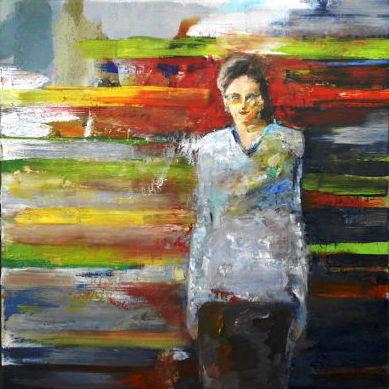 Frauenbildnis, Myriam vor einer farbigen Wand, Ölbild, 40 x 40 cm