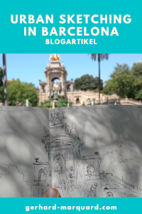 Barcelona mit dem Skizzenbuch, Füllerzeichnung im Park