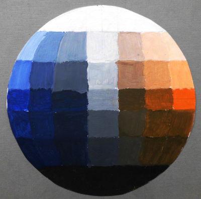 Farbkugel nach Hölzl, Komplementärkontrast Orange:Ultramarinblau, Hell-Dunkel-Kontrast