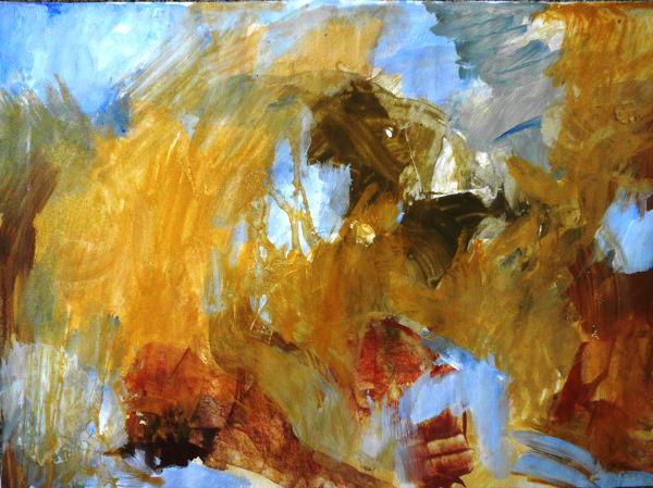 Barock abstrakt, Papierbild in Ocker, roter erde und Schwarz
