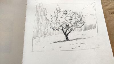 Parkvilla/Bad Heilbrun, Zeichnung, Formen hervorzeichnen