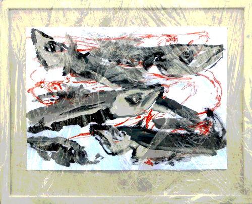 Präsentation Pescalito, Papierbilder gerahmt in Plastikfolie verpackt
