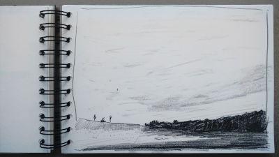 Bleistift Zeichnung, Papier, Landschaft, Diagonale, Wald und Wiesen