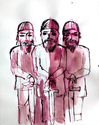 3 Männer, Wikinger, Zeichnung, Rohrfeder, rotbraun