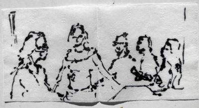 Zeichnung, Füller auf Tisch-Serviette, 5 Personen in einer Bar in Istanbul