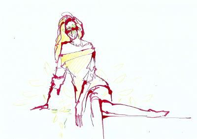Tages-Zeichnung, Corona, Frau, sitzend, rote Tinte
