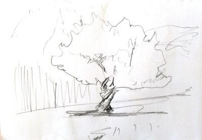 Parkvilla/Bad Heilbrun, Zeichnung, Skizze/1. Impression
