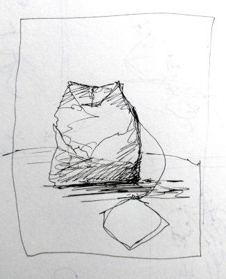 Teebeutel, Zeichnung in einer Linie mit einem Füller