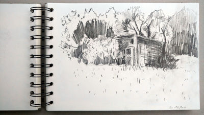Monats-Challenge, Bleistiftzeichnung, Landschaft, Stadel an der Wiese am Waldrand