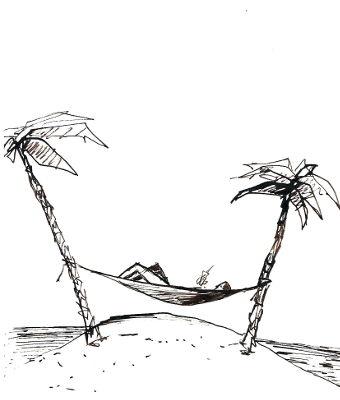 zwei Palmen, strand, meer, eine hängematte und eine person liegt darin