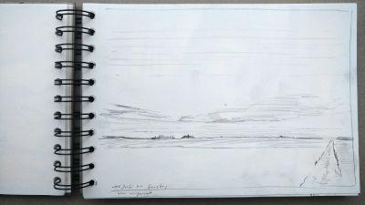 Bleistift Zeichnung, Papier, Landschaft, am Pferdehof bei Kaufering