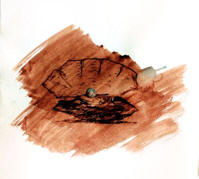 Muschel mit Perle, Zeichnung, Rohrfeder, Tinte, laviert