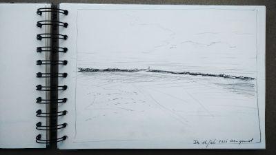 Bleistift Zeichnung, Papier, Landschaft, Horizont, der Ort Weil, Wiesen