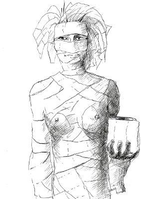 Frau in Toilettenpapier eingewickelt, wie eine Mumie