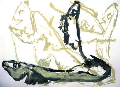 Fische, Zeichnung, Gouache/Papier, Ölkreide