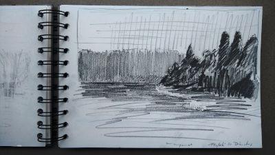 Bleistift Zeichnung, Papier, Landschaft, am Stausee bei Kaufering