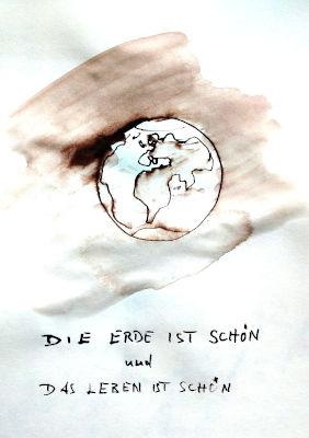 Erde, aus dem Weltraum gesehen, Zeichnung, Tinte, Rohrfeder