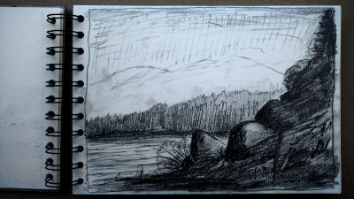 Bleistift Zeichnung, Papier, Landschaft, Am alten Lechwehr, Richtung Landsberg geschaut
