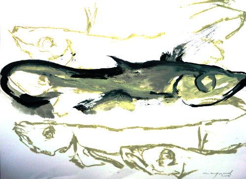 Fische, Zeichnung, Gouasche/Papier/Ölkreide, Pescaditos Fritos