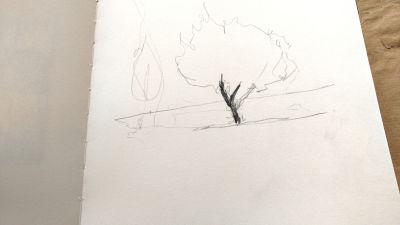 Parkvilla/Bad Heilbrun, Zeichnung, 1. Linien, Umrisse
