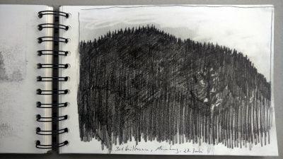 Monats-Challenge, Bleistiftzeichnung, Landschaft, Berg bei Bad Heilbrunn
