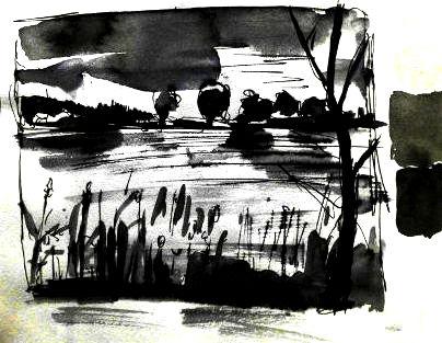 Füller, Tinte laviert und schwarze Aquarellfarbe, Zeichnung einer Landschaft