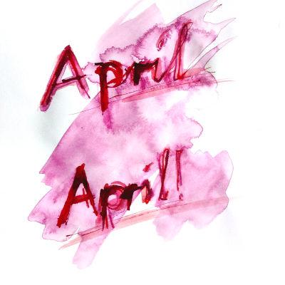 April-April, Zeichnung, Pink, Tinte, Rohrfeder
