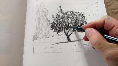 Parkvilla/Bad Heilbrun, Zeichnung, mit weichem Graphistift Tiefe ausarbeiten