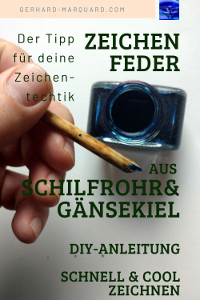 Schilfrohr-zeichenfeder, tintenfass
