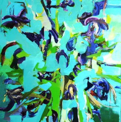 Tulpen, ölbild, vase, abstrakt, türlis