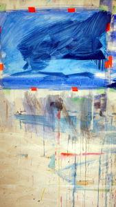 Bergbilder blau, erste striche