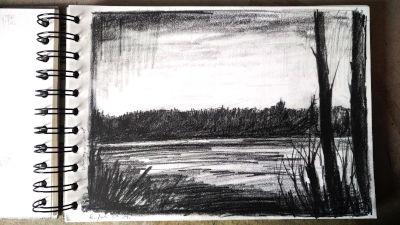 Landschaft Bleistift Zeichnung, Zwei Bäume, rechts, Lech, Regenwolke links