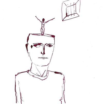 Zeichnung, Mann in Gefängnis, freier Geist im Kopf