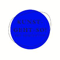 Online-Magazin_logo, blauer Kreis mit Linienzeichnung, Schrift, Kunst-geht-so! - der Newsletter