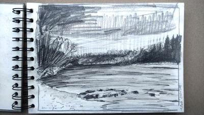 Altes Wehr, Lech, Landschaft, Wald und Fluss, Bleistift Zeichnung, Papier