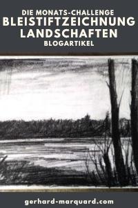 Landschaft, Bleistiftzeichnung, Lechufer mit Bäumen