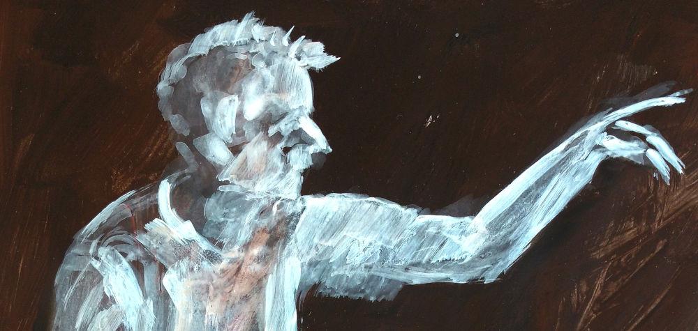 Untermalung, dunkelbrauner Hintergrund, Figur, weiß aufgemalt. Mann schaut nach rechts und zeigt auf etwas außerhalb des Bildraumes rechts, mit dem Zeigefinger