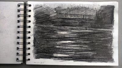 Monats-Challenge, Bleistiftzeichnung, Landschaft, Lech, alte Pflugfabrik am Abend