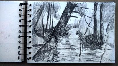 Bleistift Zeichnung, Papier, Landschaft, Bach, bei Bad Tölz