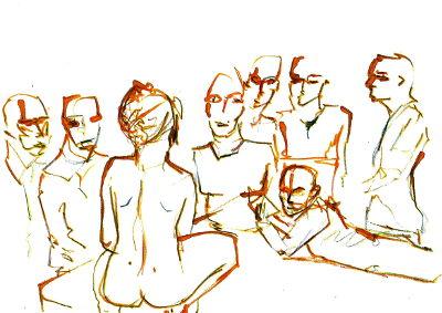 Eine nackte Frau sitzt auf eiem Bett, 7 bekleidete Männer betrachten sie.
