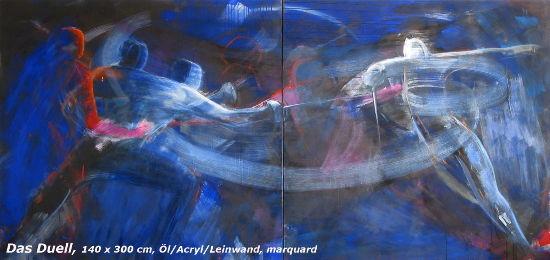 Das Duell, 140 x 300 cm, Öl/Acryl/Leinwand