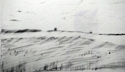 Bleistiftzeichnung, Landschaft bei Kaufering, mit Radiergummi durchbrochen