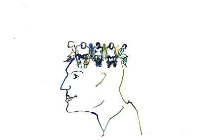 Kopf, profil, am Kopfrand sitzen kleine Figuren, wie auf einer Toilette, die das Schädelinnere als Abort benutzen