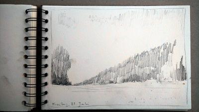 Monats-Challenge, Bleistiftzeichnung, Landschaft, wiesen, Baum, waldrand