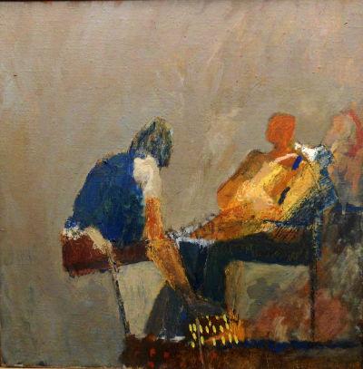 Komposition mit sitzenden Figuren, Eitempera Bild