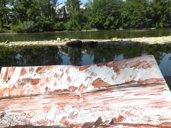 Zeichnung einer Flusslandschaft, Tinte laviert, Lech in Landsberg