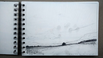 Bleistift Zeichnung, Papier, Landschaft, Zw. Landsberg und Kaufering