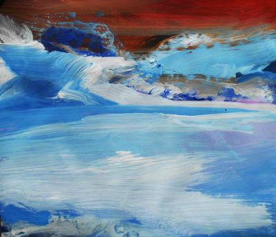 Gebirge im Winter, Papierbild, Acrylfarbe