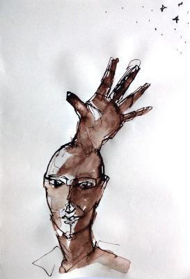 Kopf aus dem eine Hand nach den Sternen greift, Zeichnung, Tinte, Rohrfeder, braun