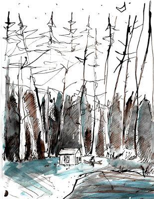 Zeichnung, Bäume, Haus, Thoreau am Waldensee